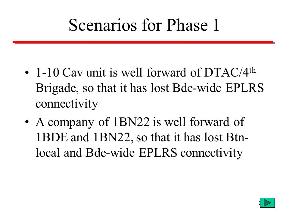 Scenarios for Phase 1 1-10 Cav unit is well forward of DTAC/4th Brigade, so that it has lost Bde-wide EPLRS connectivity.