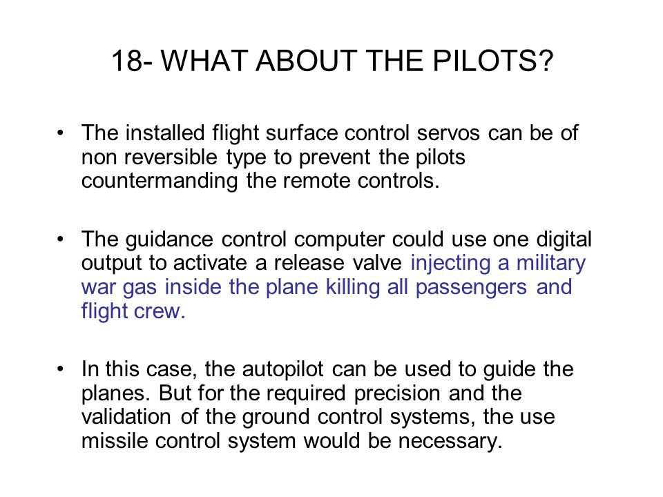18- WHAT ABOUT THE PILOTS