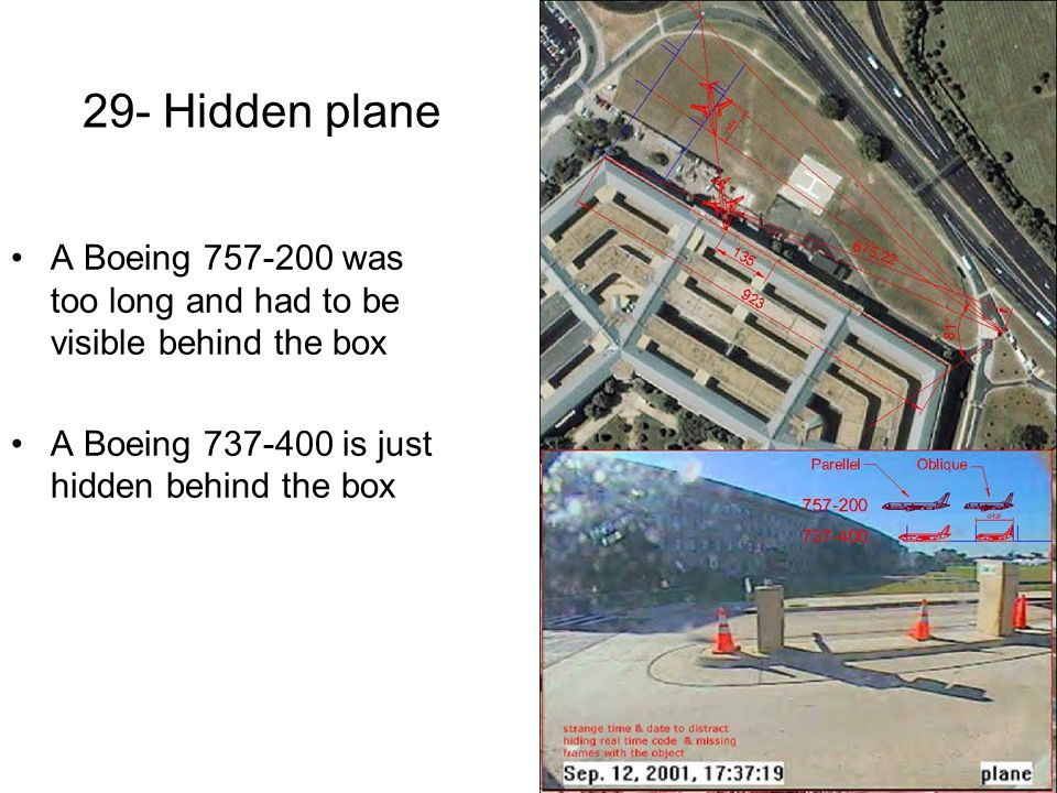 29- Hidden plane A Boeing 757-200 was too long and had to be visible behind the box.