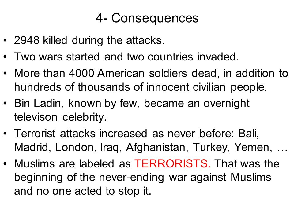 4- Consequences 2948 killed during the attacks.