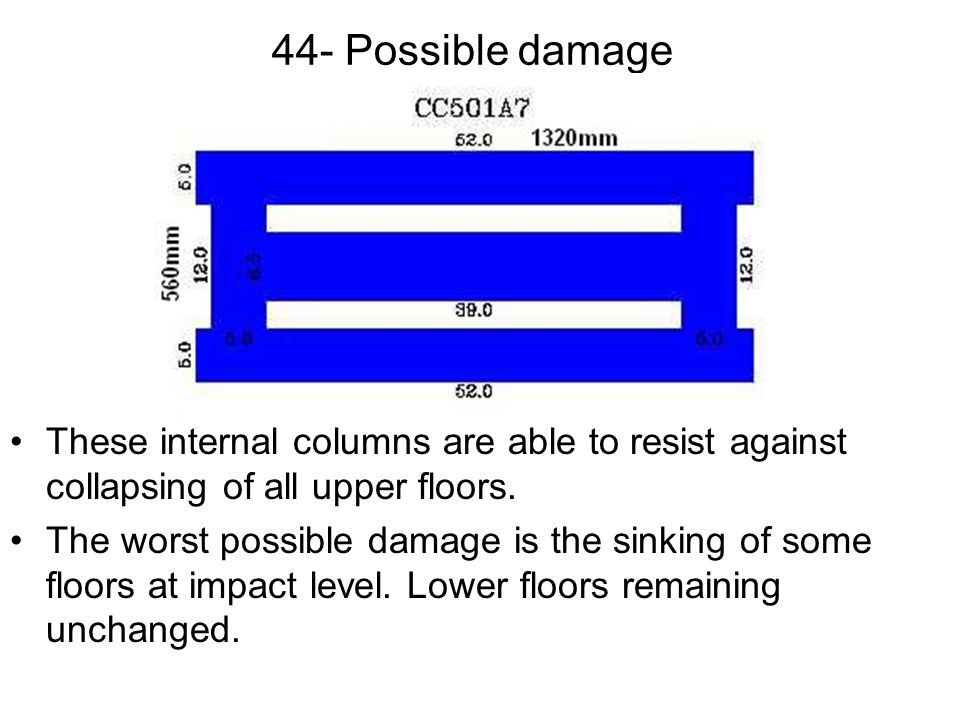 44- Possible damage These internal columns are able to resist against collapsing of all upper floors.