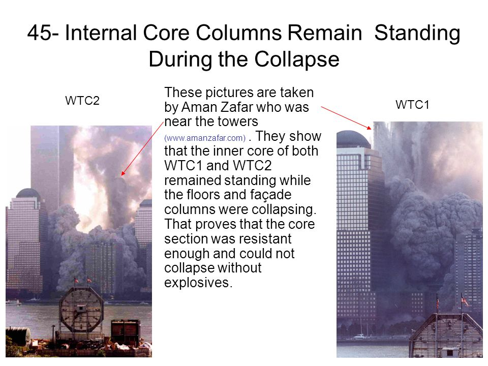 45- Internal Core Columns Remain Standing During the Collapse