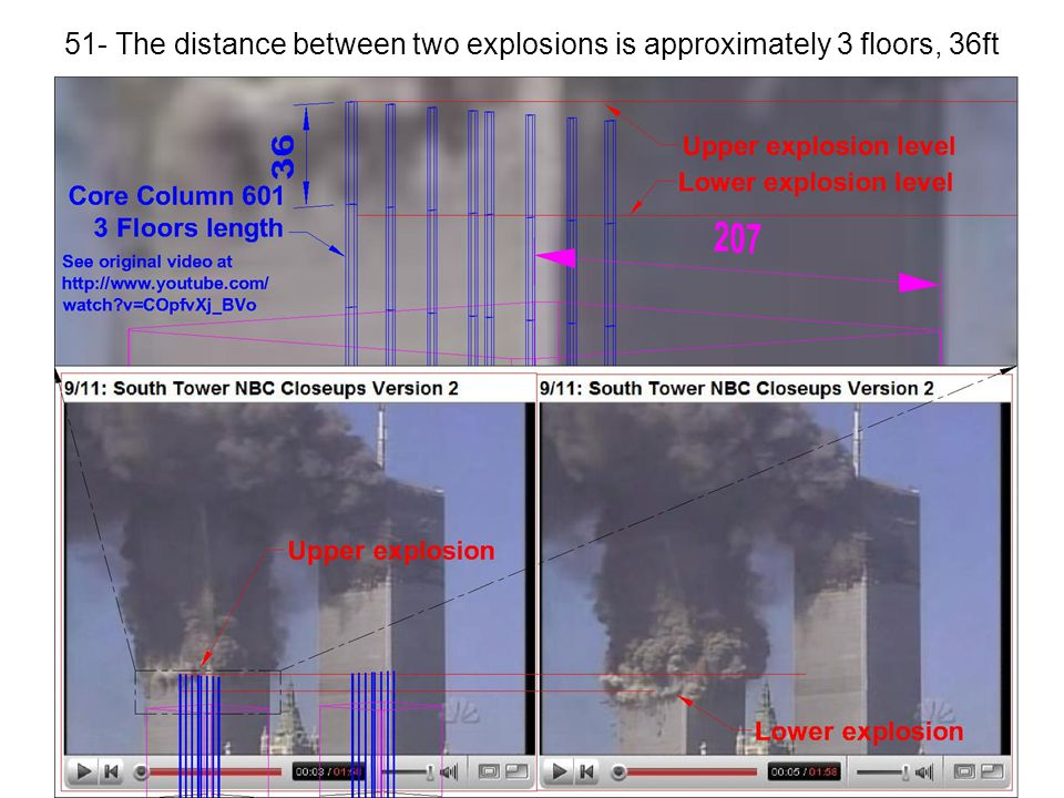 51- The distance between two explosions is approximately 3 floors, 36ft