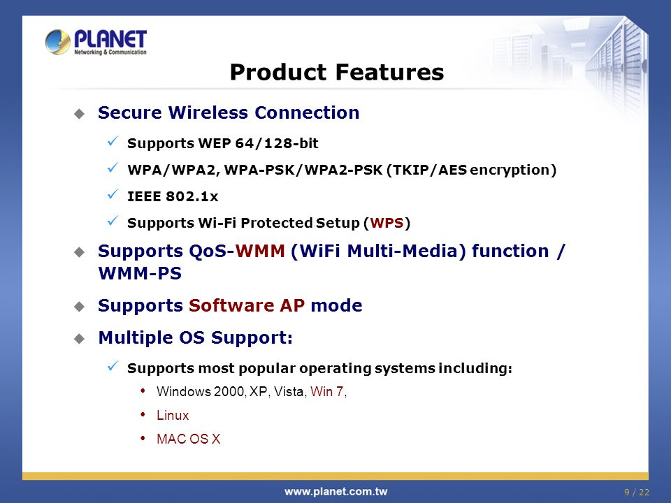 Product Features Secure Wireless Connection
