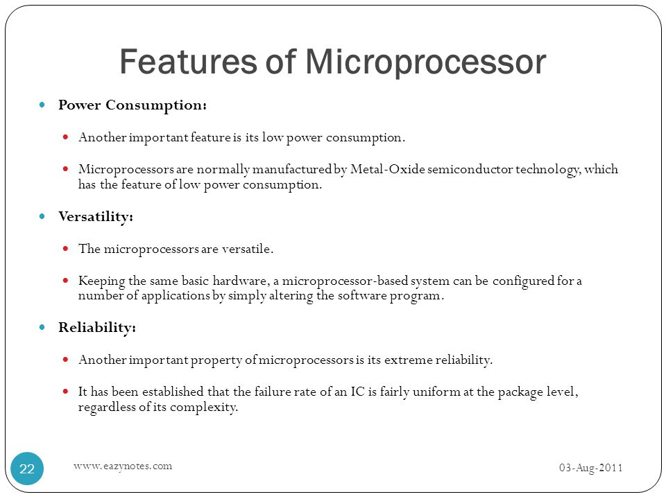 Features of Microprocessor
