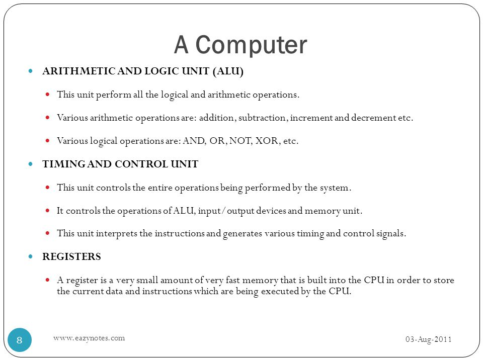 A Computer ARITHMETIC AND LOGIC UNIT (ALU) TIMING AND CONTROL UNIT