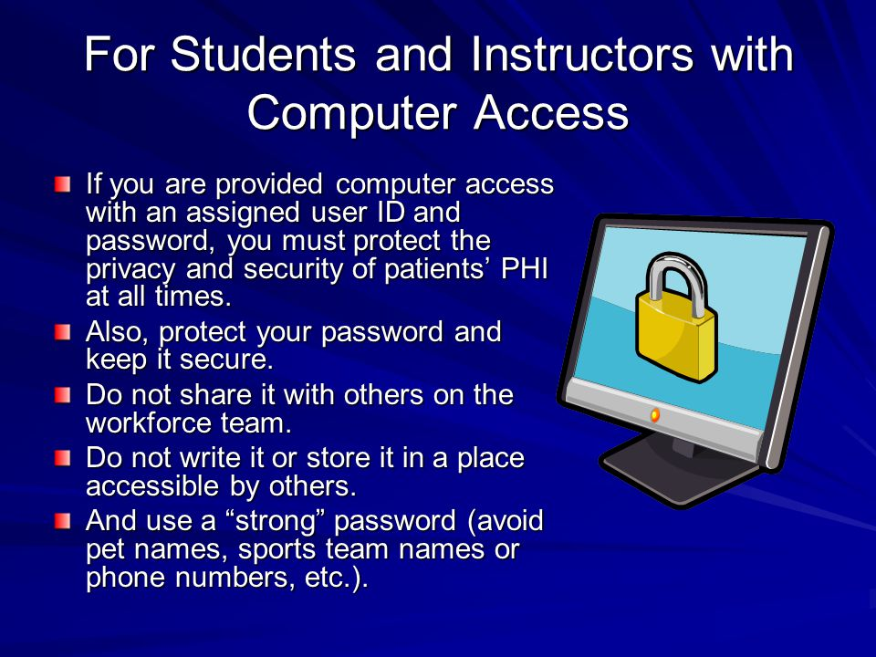 For Students and Instructors with Computer Access