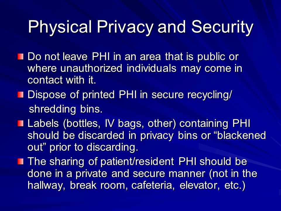 Physical Privacy and Security