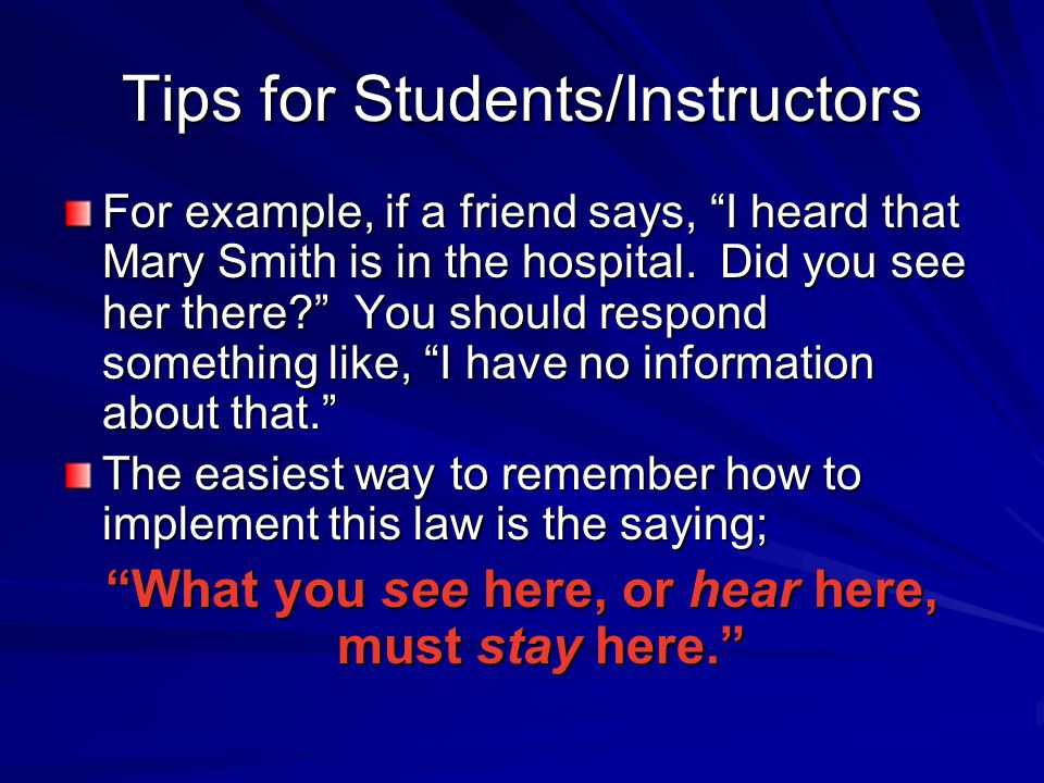 Tips for Students/Instructors