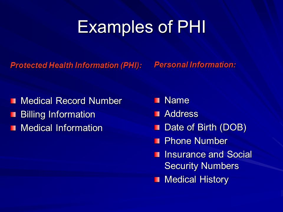 Examples of PHI Name Medical Record Number Address Billing Information