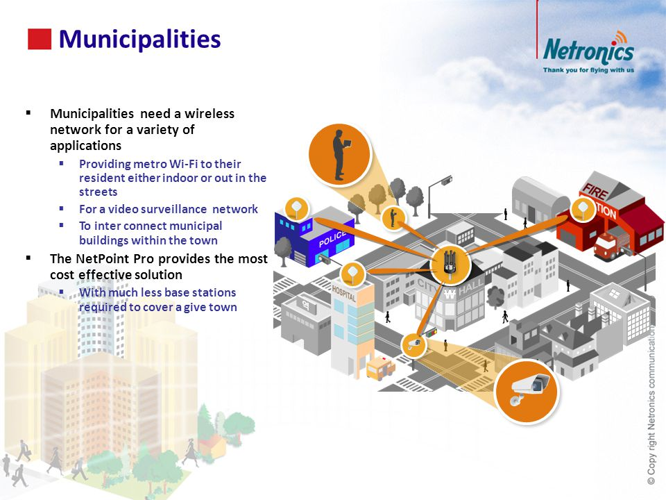 Municipalities 50. Municipalities need a wireless network for a variety of applications.