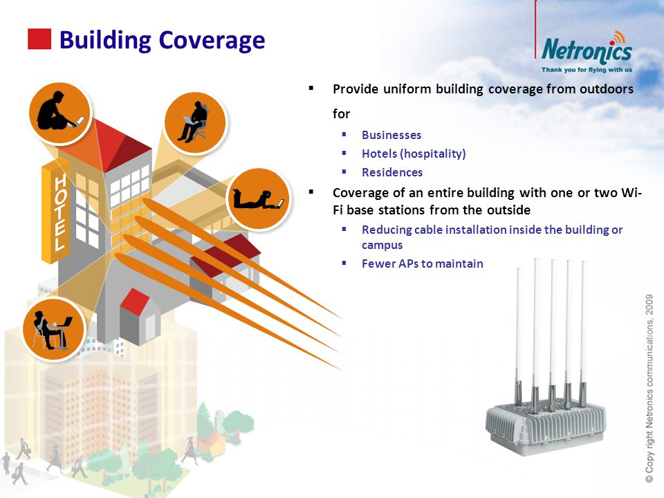 Building Coverage Provide uniform building coverage from outdoors for