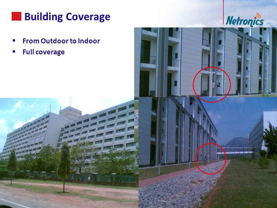 Building Coverage 52 From Outdoor to Indoor Full coverage 52