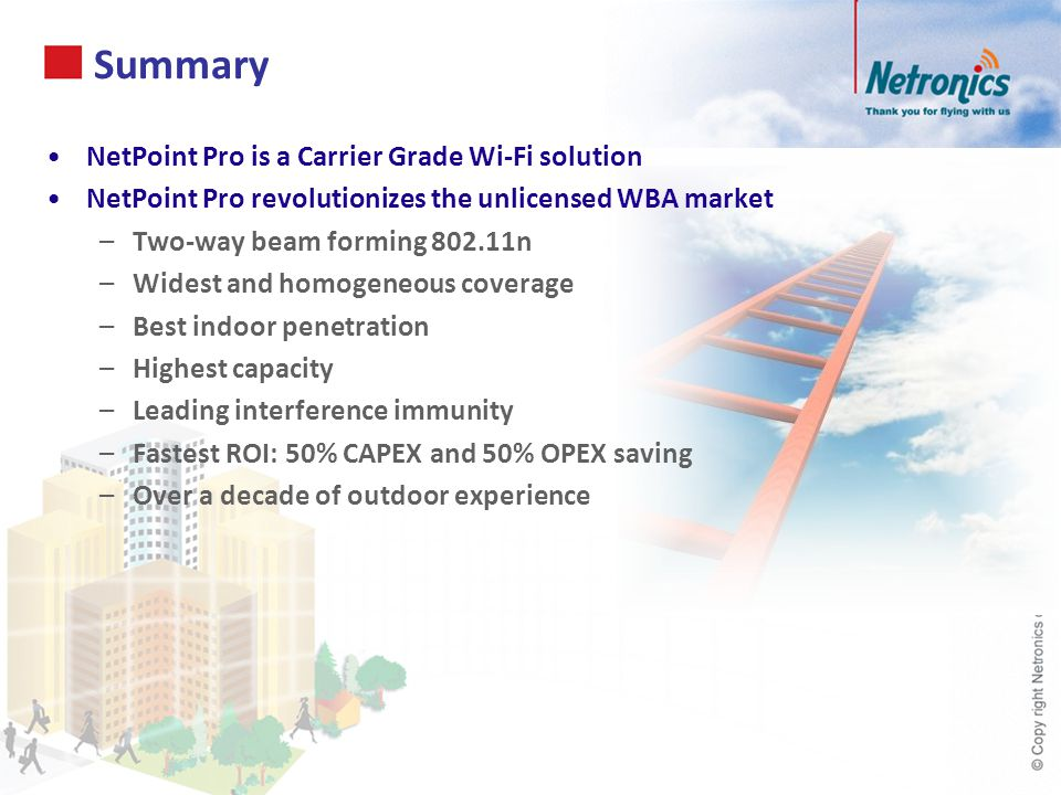 Summary NetPoint Pro is a Carrier Grade Wi-Fi solution