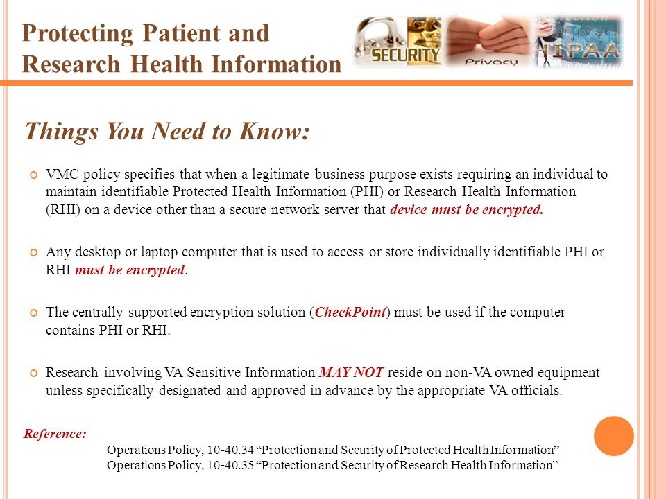 Protecting Patient and Research Health Information