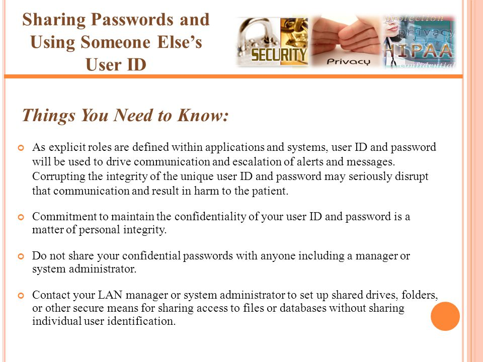 Sharing Passwords and Using Someone Else's User ID