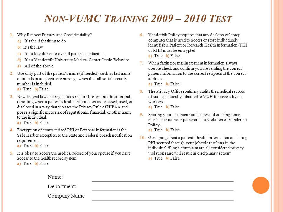 Non-VUMC Training 2009 – 2010 Test