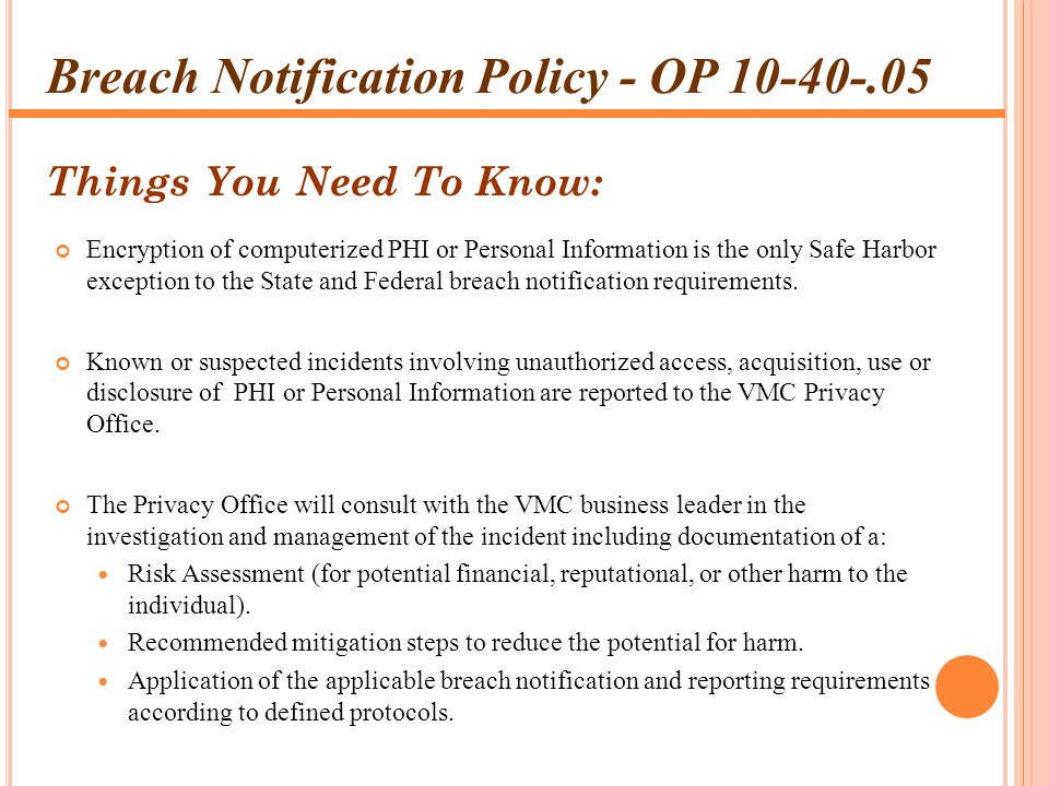 Breach Notification Policy - OP 10-40-.05