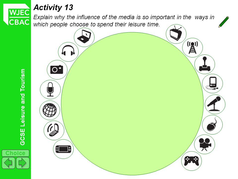 Activity 13 Explain why the influence of the media is so important in the ways in which people choose to spend their leisure time.