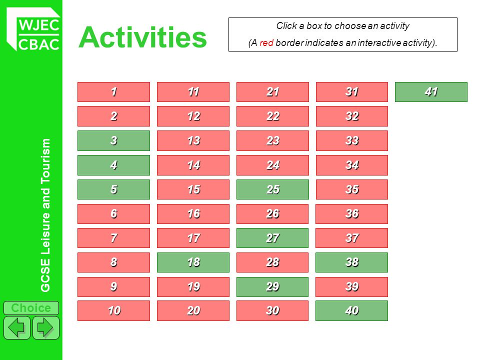 Activities Click a box to choose an activity. (A red border indicates an interactive activity). 1.
