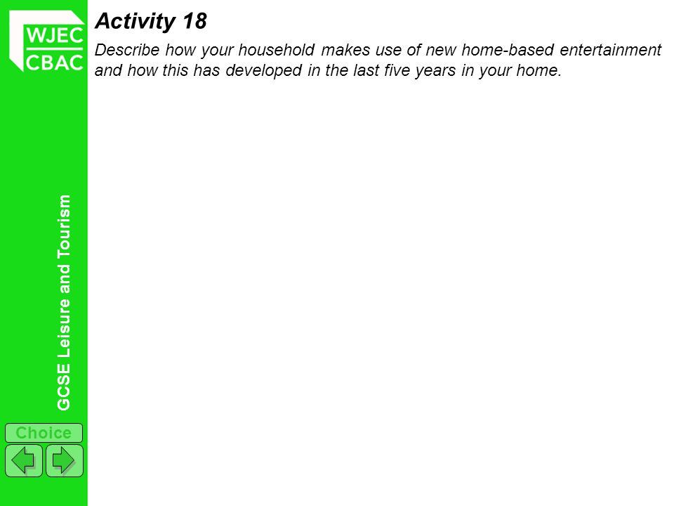 Activity 18 Describe how your household makes use of new home-based entertainment and how this has developed in the last five years in your home.