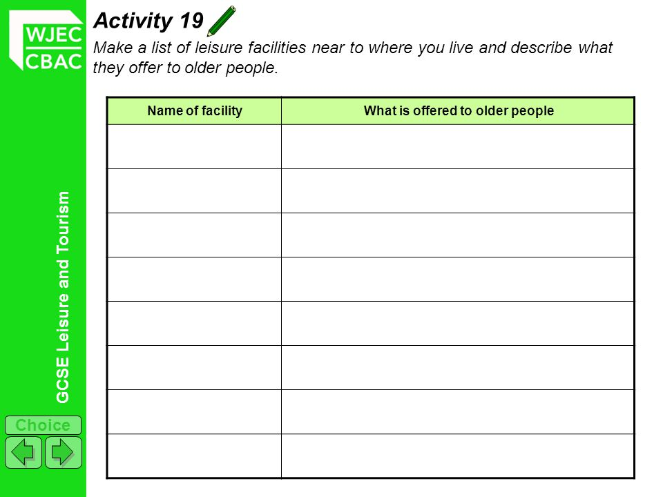 Activity 19 Make a list of leisure facilities near to where you live and describe what they offer to older people.