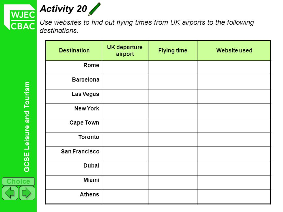 Activity 20 Use websites to find out flying times from UK airports to the following destinations. Destination.
