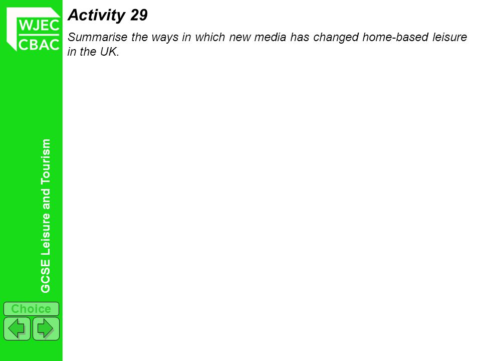 Activity 29 Summarise the ways in which new media has changed home-based leisure in the UK.