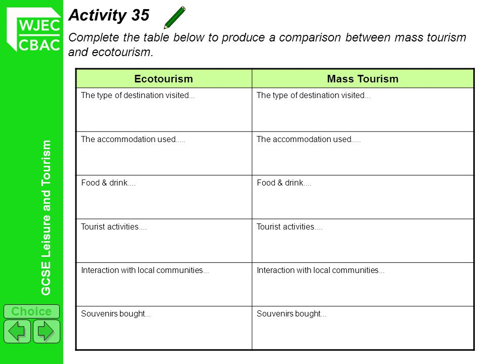 Activity 35 Complete the table below to produce a comparison between mass tourism and ecotourism. Ecotourism.
