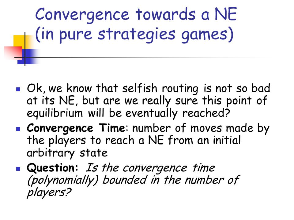 Convergence towards a NE (in pure strategies games)