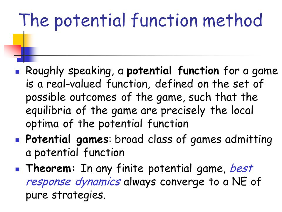 The potential function method