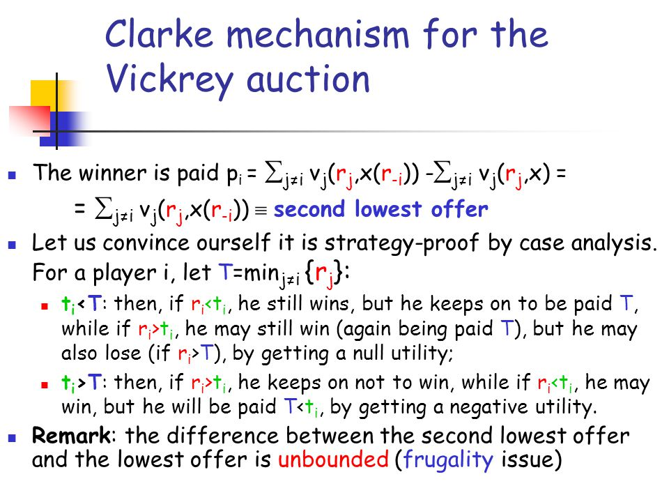 Clarke mechanism for the Vickrey auction