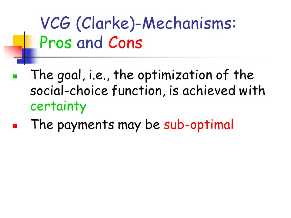 VCG (Clarke)-Mechanisms: Pros and Cons