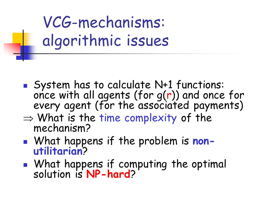 VCG-mechanisms: algorithmic issues
