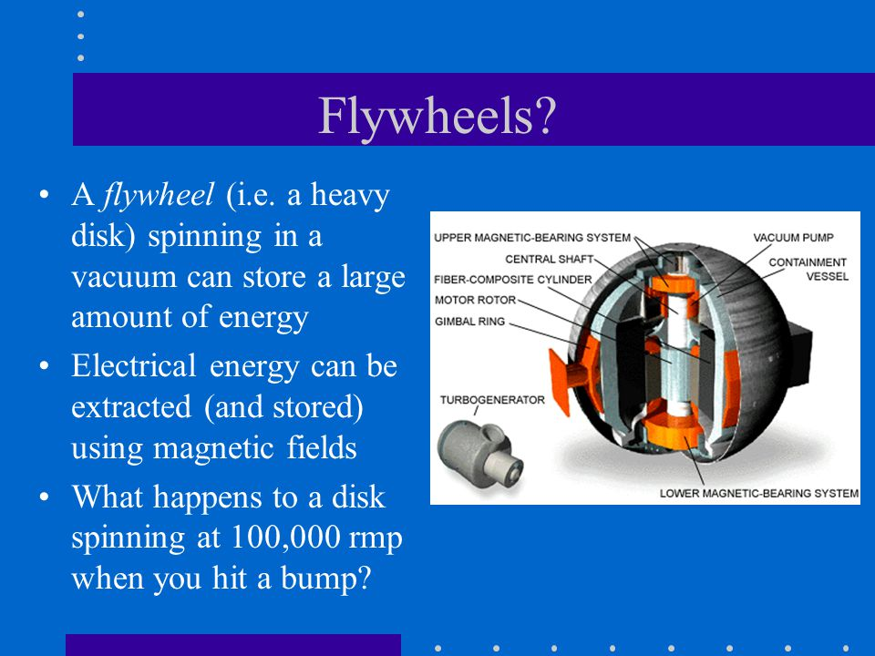 Flywheels A flywheel (i.e. a heavy disk) spinning in a vacuum can store a large amount of energy.