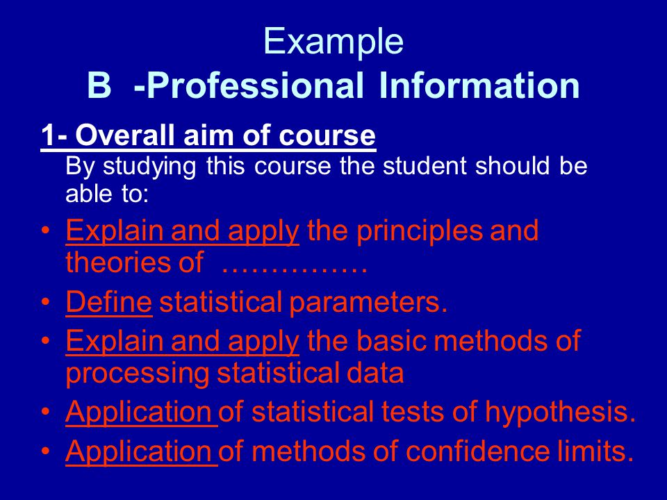 Example B- Professional Information