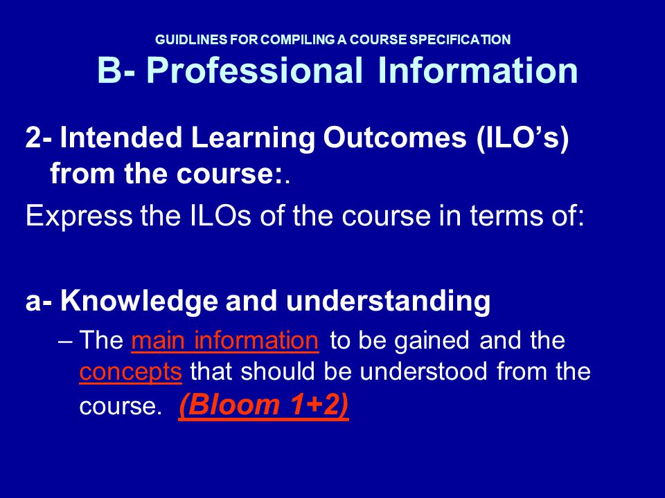 2- Intended Learning Outcomes (ILO's) from the course:.