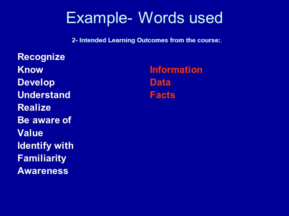 Example- Words used 2- Intended Learning Outcomes from the course:.