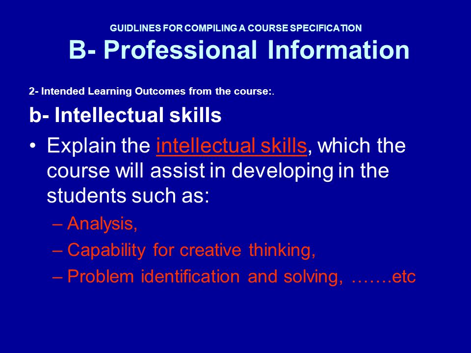 b- Intellectual skills