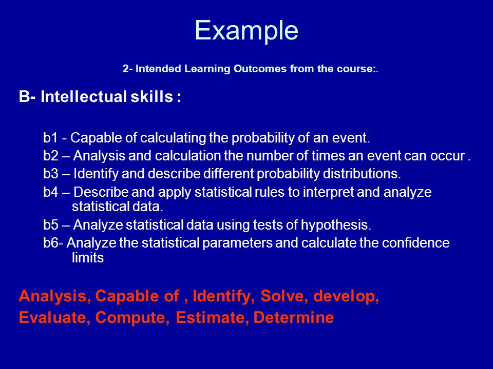 Example 2- Intended Learning Outcomes from the course:.