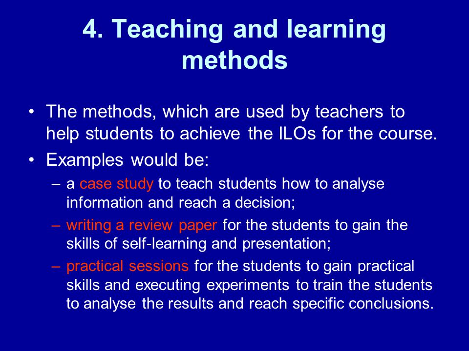 4. Teaching and learning methods