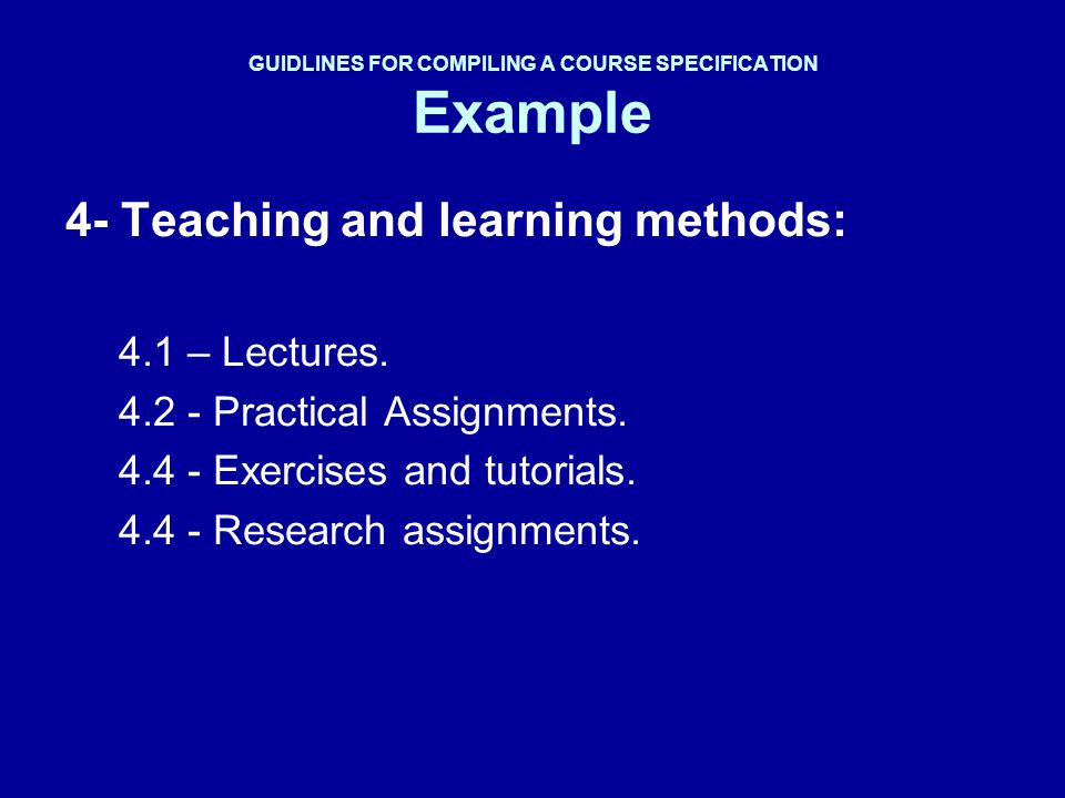 GUIDLINES FOR COMPILING A COURSE SPECIFICATION Example