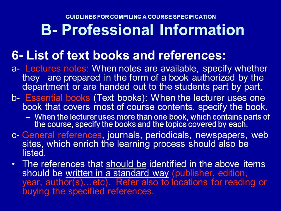 6- List of text books and references:
