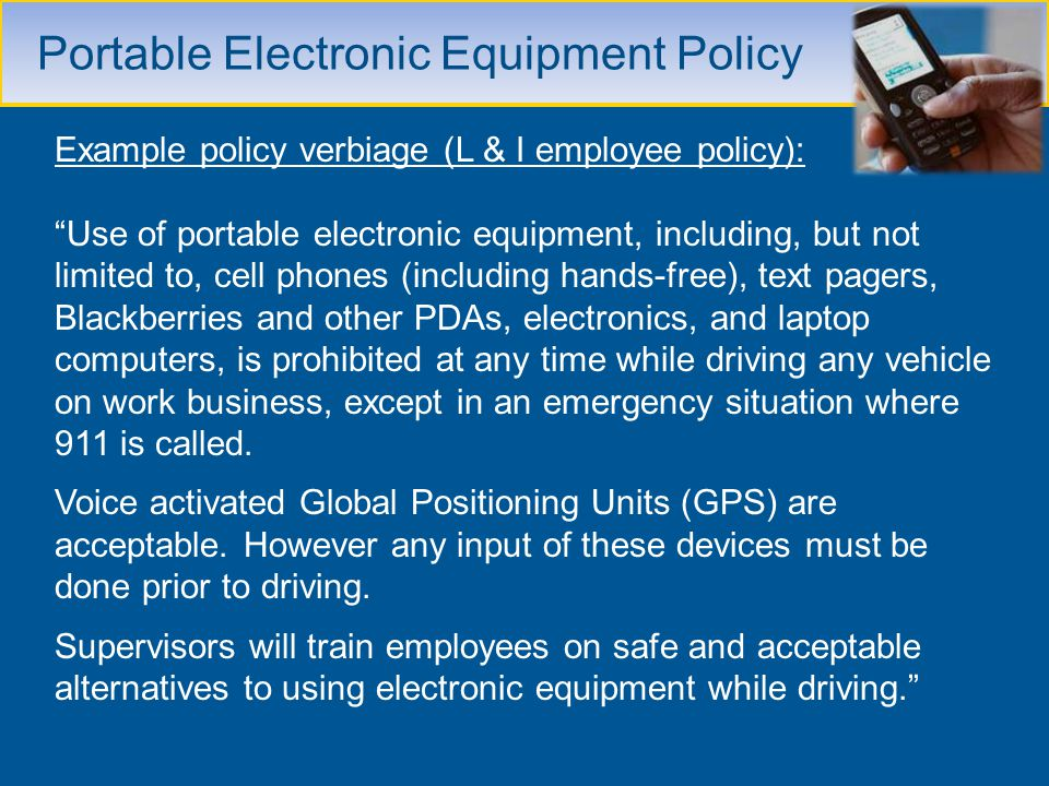 Portable Electronic Equipment Policy