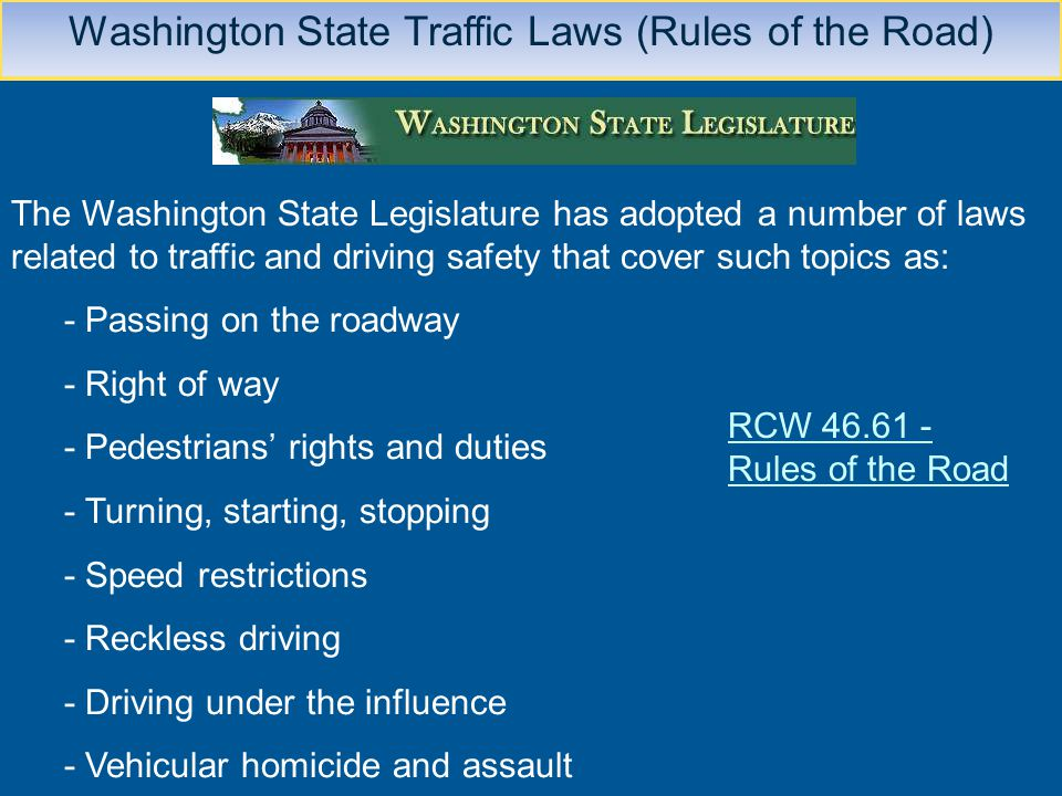 Washington State Traffic Laws (Rules of the Road)