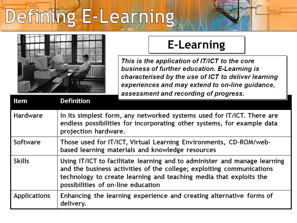IT, ICT, Elearning - 3 E-Learning