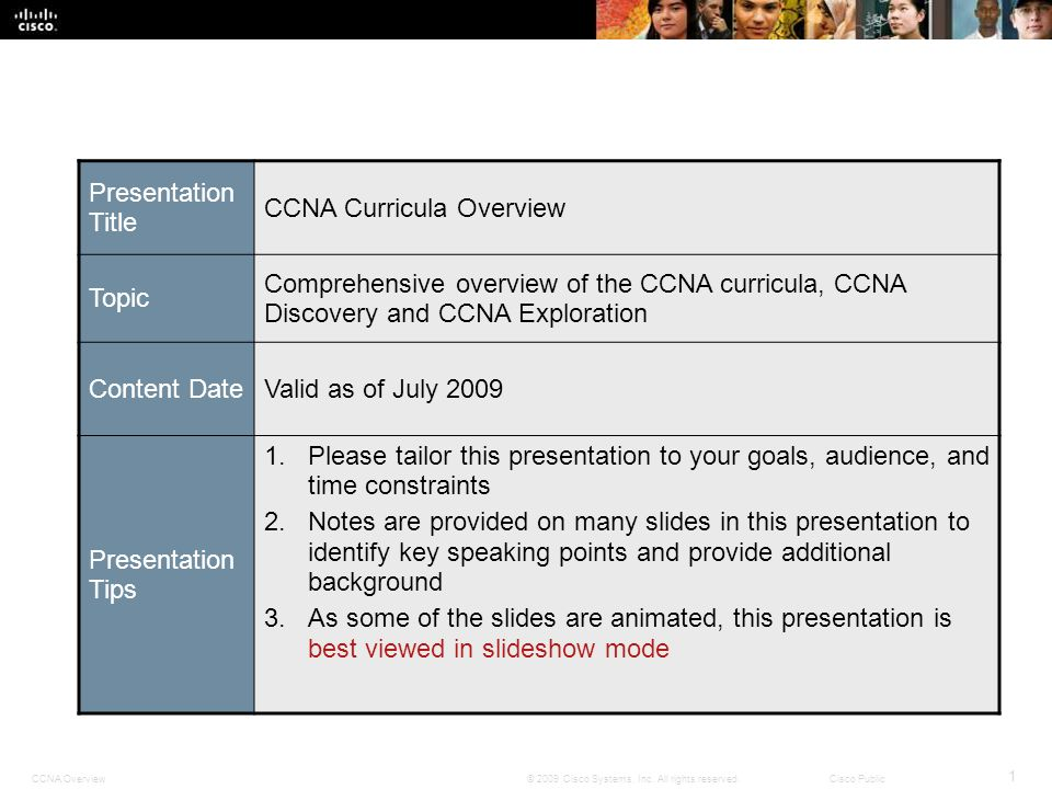 Presentation Title CCNA Curricula Overview. Topic. Comprehensive overview of the CCNA curricula, CCNA Discovery and CCNA Exploration.