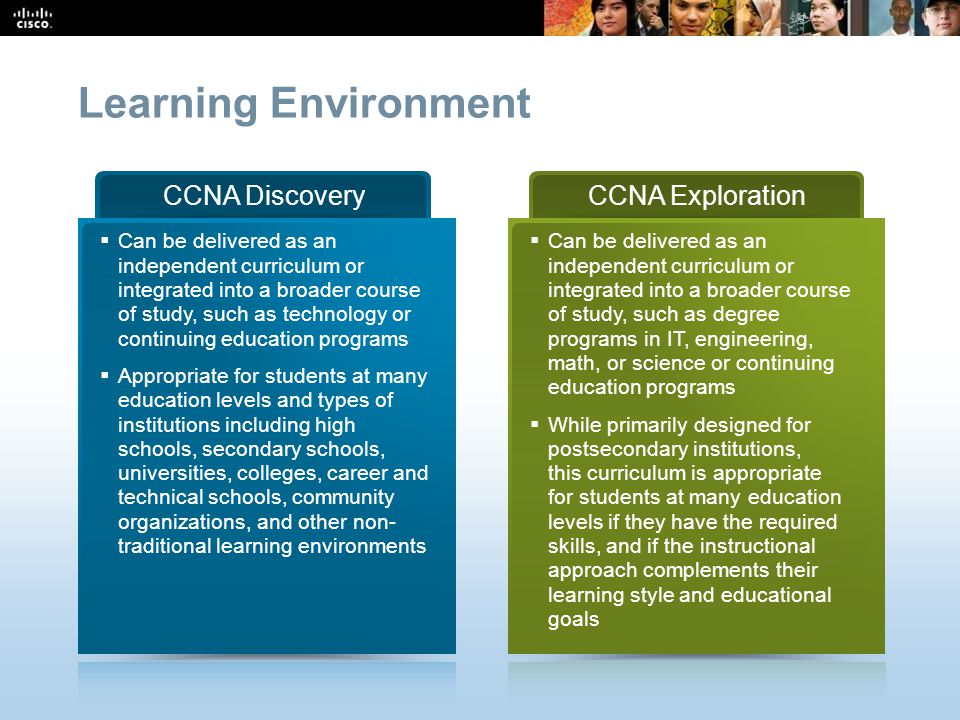 Learning Environment CCNA Discovery CCNA Exploration