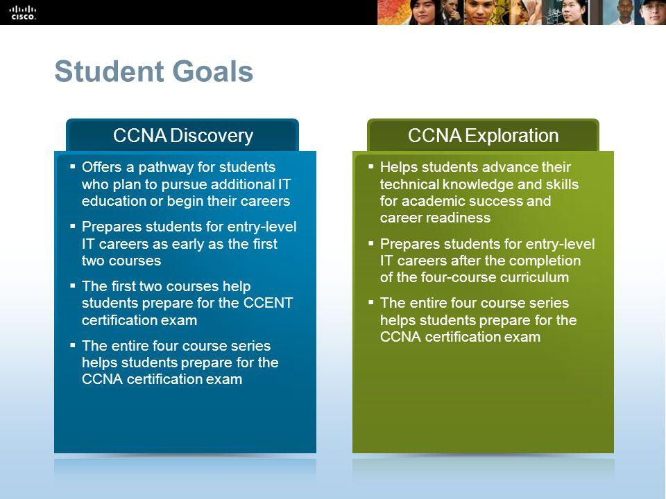 Student Goals CCNA Discovery CCNA Exploration