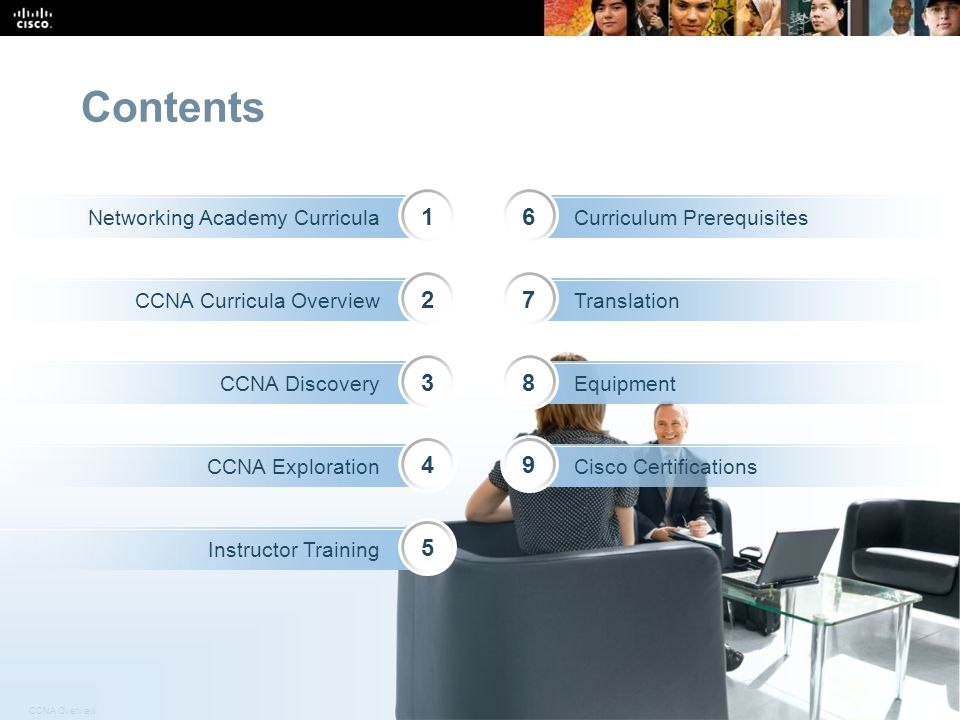 Contents 1 6 2 7 3 8 4 9 5 Networking Academy Curricula